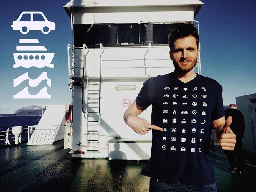 Camiseta inovadora com 40 ícones permite que você se comunique em qualquer país